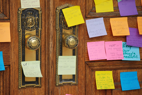 post-it notes on doors