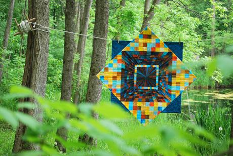 quilt in woods