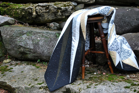 quilt on a stool