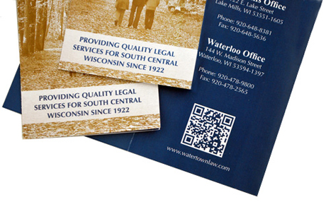 QR code for law firm brochure, photo by Adunate