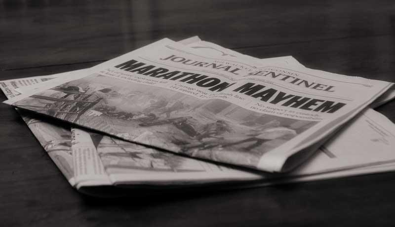 Milwaukee Journal Sentinel newspaper on Boston Marathon bombing