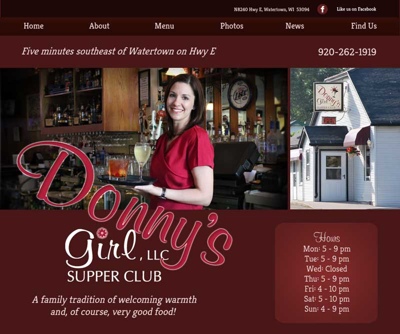 Donny's Girl Supper Club website homepage