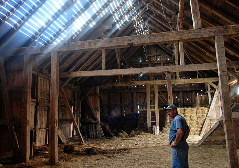 light coming through barn roof