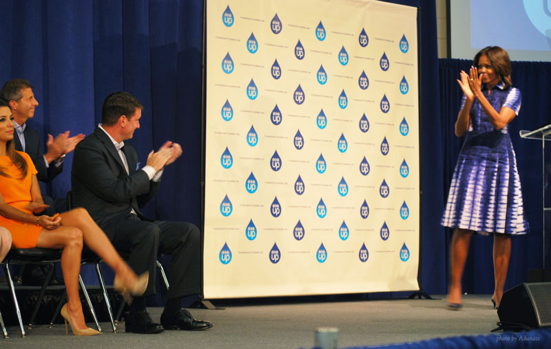 Michelle Obama and Eva Longoria visit Watertown WI for Drink Up campaign