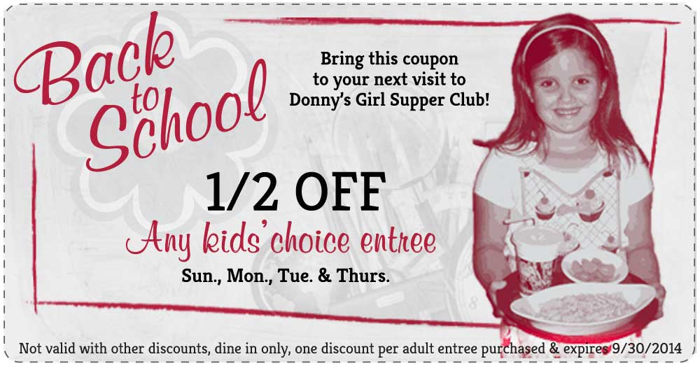 Back-to-School Special at Donny's Girl Restaurant