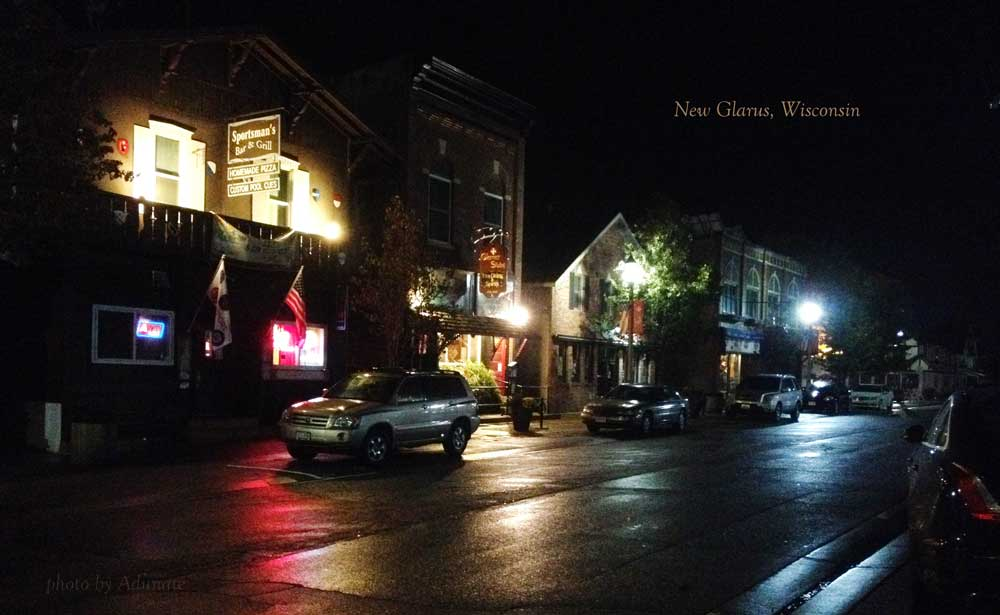 Night time in New Glarus, WI