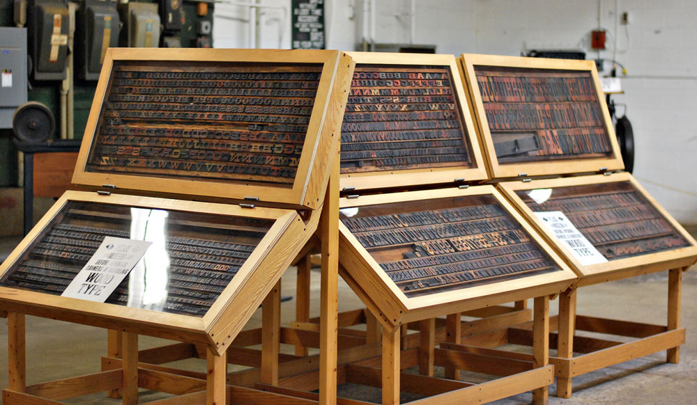 Display cases at Hamilton Wood Type & Printing Museum