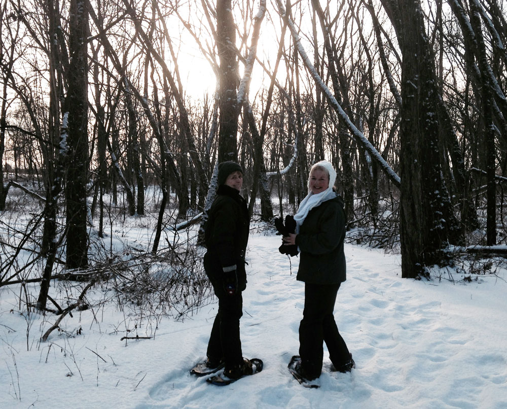 snowshoeing with friends