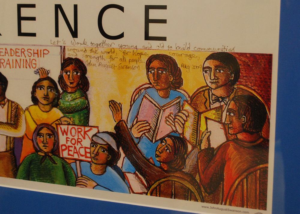 Artwork of John August Swanson on display at Risen Savior Lutheran School, Milwaukee, WI