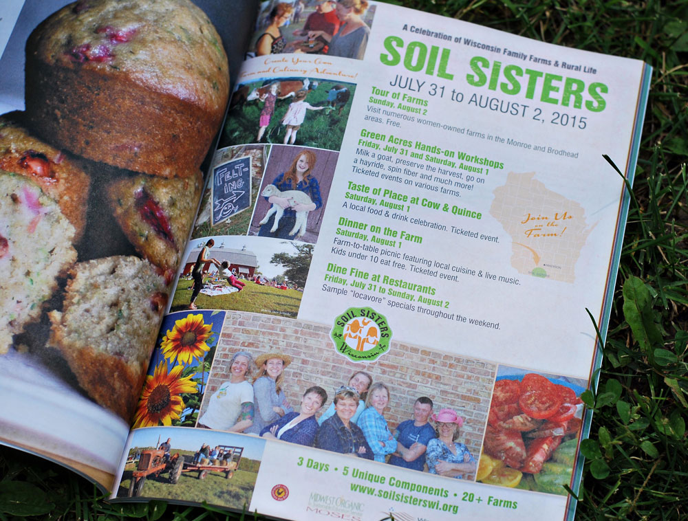Soil Sisters ad in Edible Madison Magazine, by Adunate Word & Design