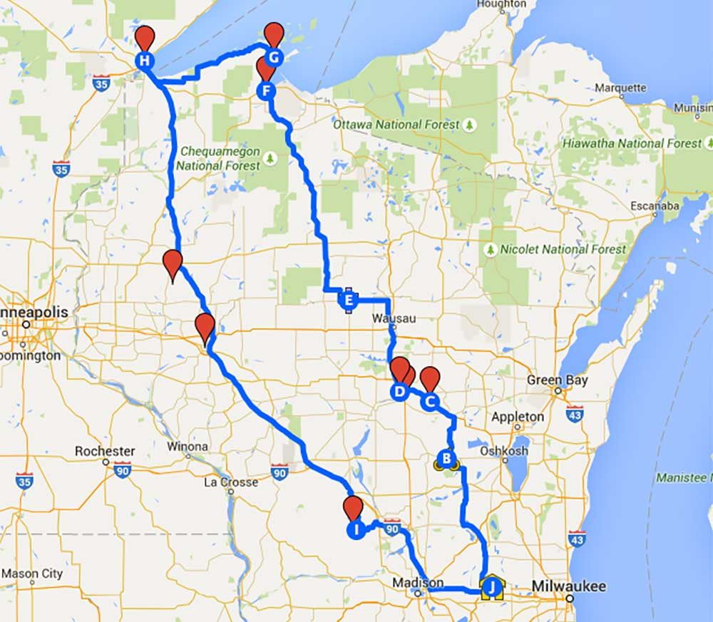 Google map for 2015 brewery tour
