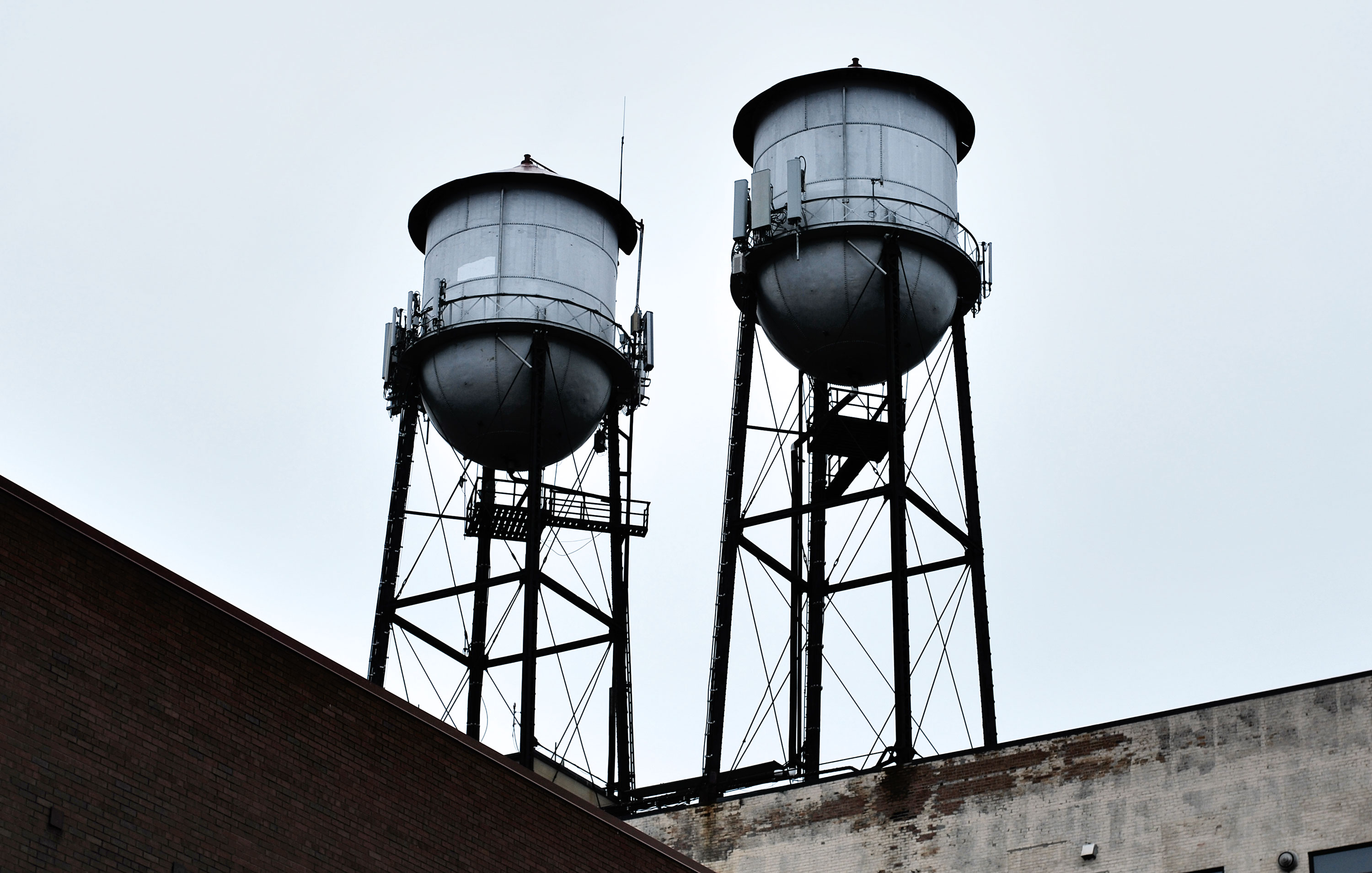 Water towers of Suites Hotel in Canal Park, Duluth, MN